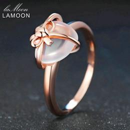Rose Quartz Rings NZ - LAMOON Heart 9x10mm 100% Natural Gemstone Rose Quartz 925 Sterling Silver Jewelry Wedding Ring with LMRI051 S18101001