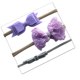 Headbands Bow Australia - Soft Baby Nylon Headband Set with Hair Bow Cotton Elastic Hair Band for Kid Girl Toddler Lace Floral Ponytail Hairbands