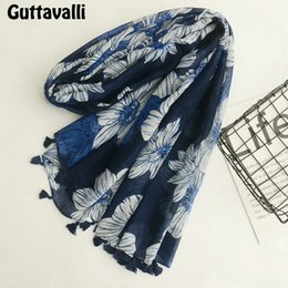 $enCountryForm.capitalKeyWord NZ - Guttavalli Women Blue Galsang Flowers Tassels Long Shawl Female Cotton Geometric Scarf Bohemia Fashion Skinny Chevron Scarves