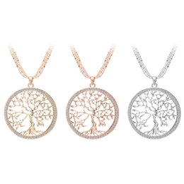 Tree Life Pendant Gold UK - Tree Of Life Rose Gold Silver Color Long Necklace for Women Fashion Crystal Multilayer Pendant Necklace Female Jewelry D788S