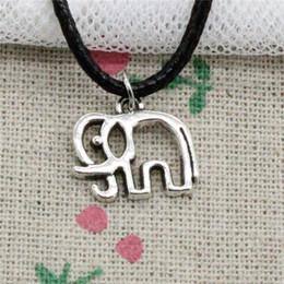 $enCountryForm.capitalKeyWord Australia - Creative Fashion Antique Silver Pendant elephant 14*16mm Necklace Choker Charm Black Leather Cord Handmade Jewlery