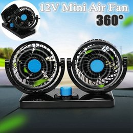 double fan 12v 2019 - Car Mini Electric Fan 2 Head Double 360 Degree Rotating Low Noise Summer Conditioner Portable Adjustable Car Fan Air Coo