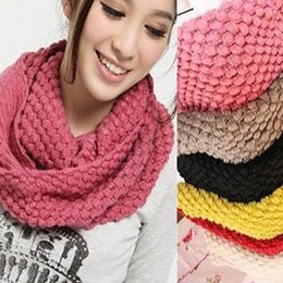 Discount womens knitted scarves - Fashion Womens 2 Circle Winter Warm Knitted Cowl Neck Scarf Shawl Gift