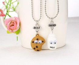 Discount free best friend necklaces - Best Friends BFF pendant bead chain necklace fastfood milk cookie biscuit kids jewelry lead nickel free 5set 10pcs