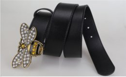 Design Genuine Leather NZ - Popular Women Style Leather Belts with Shiny Bee Buckle Fashion Design Black Casual Waistband Top Quality Genuine Leather Jeans Belt Girdle