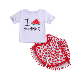 China Kids Girls Summer Clothing Watermelon Outfit Tops+Shorts Two-piece set Baby Tassel Clothes Girls Hawaii Beach Boutique Costume cheap hawaii clothes suppliers