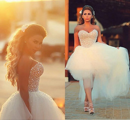 plus size high low skirt Canada - Charming Beach Wedding Dresses 2018 Sweetheart Full Pearls Top Diamonds High Low Tulle Bridal Gowns Bohemian Plus Size Wedding Dress