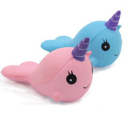 Discount blue whale toy - Cute Squishy Whale Toys Pink Blue color Cartoon Whale Anti-stress Toys Whale Slow Rising Squeeze Toy Elasticity Stretch