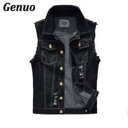 black denim waistcoat UK - Genuo Spring Autumn Vintage Men's Denim Vest Male Black Sleeveless Jackets Men Hole Jeans Waistcoat 6XL Casual Coat Streetwear