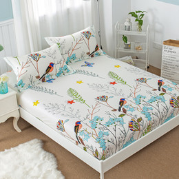 bird crib bedding set 2018 - New Floral Bird Print Fitted Sheet with Elastic 100% Cotton Fitted Bed Sheet Twin Full Queen Size Mattress Cover Protect