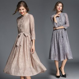 9688a1b6d1ed0 2018 New Womens Autumn Dresses Elegant High Quality Casual Dresses Women  Plus Size Party Dress with Decorative Stand Lace Clothes