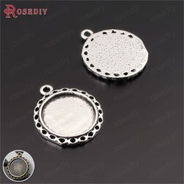 $enCountryForm.capitalKeyWord Australia - 20PCS Inside 15MM Antique Silver Alloy Round Cabochon Beads Cameo Seings Bezels Trays Jewelry Findings Necklace Accessories