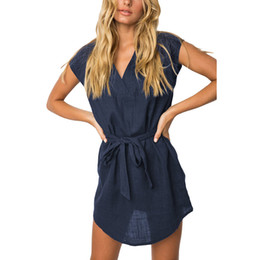 Plus Size Irregular Hem Dress NZ - Women Shirt Dress Solid Cotton V Neckline Tied Belt Waist 4XL 5Xl Plus Size Dress Short Sleeve Loose Irregular Hem Mini Dresses