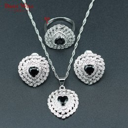 black bridal jewelry sets NZ - DANDY WILL Heart-shaped Bridal Jewelry Sets For Women Black Zircon 925 Stamp Silver Color Necklace Earrings Ring Pendants