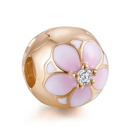 $enCountryForm.capitalKeyWord NZ - Authentic 925 Sterling Silver Bead Charm Pink & White Enamel Rose Magnolia Bloom Flower Clip Stopper Bead Fit Pandora Bracelet Diy Jewelry