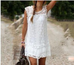 White Spots Neck Canada - European and American white lace elegant sleeveless dress A large number of spot 2-color S-5XL Popular elements Lace Main fabric compositio