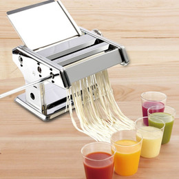 pasta cutters UK - Stainless Steel ordinary 2 Blades Pasta Making Machine Manual Noodle Maker Hand Operated Spaghetti Pasta Cutter Noodle Hanger