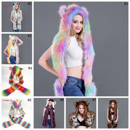 afbd23fb4f6b0 Women Colorful Faux Fur Hat Up Hood Animal Rainbow Hat Wolf Plush Warm  Animal Cap With Scarf Gloves Party Scarf Mittens 7 styles MMA744