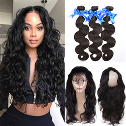 cheap wavy hair extensions remy 2019 - 360 Full Lace Frontal Closure With 3 Bundles Brazilian Virgin Human Hair Weaves Bundles Body Wave Cheap Brazilian Wavy R