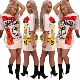 Women mini top fashion online shopping - Fashion casual t shirt dress new women street wear Long Tops Character print Mini party dress short Short Sleeve Loose Dresses Vestidos