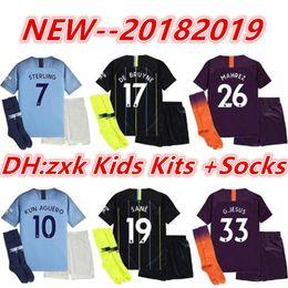 19 Manchester City Kids kits+socks Soccer Jerseys 2018 KUN AGUERO SILVA  STERLING DE BRUYNE Children Football Uniform G.JESUS MAHREZ Y 894cb92ae6550