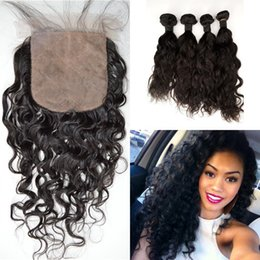 Discount brazilian wavy hair 22 inch - Wet And Wavy Human Hair Weave Bundles With Silk Base Closure 5pcs Lot Virgin Indian Water Wave With Closure