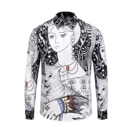 Graffiti Flowers UK - 2018 Fall Winter Collection Medusa Business Casual Men's Long Sleeve Shirt Lapel Flower Wave Button Stripe Graffiti Fashion Style 59