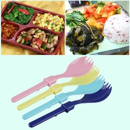 Spoon Case NZ - New Cute Camping Hiking Cookout Picnic Foldable Spork Plastic Spoon With Case Popular New
