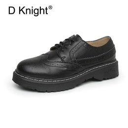 Flat Oxfords New Style Women NZ - New Ladies Casual Flat Oxfords Fashion Round Toe Lace Up Brogue Oxford Shoes Vintage England Style Women Casual Shoes Size 34-43