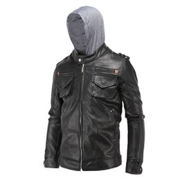 739123dd37339 Wholesale- Size L-4XL Men s Fashion Clothing Black PU Faux Leather Jackets  Male Pockets Zippers Casual Casaco Motorcycle Coats With Hooded