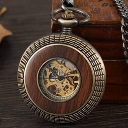 $enCountryForm.capitalKeyWord Australia - 1 Pcs Relogio Masculino Classical Wood Circle Carved Men's Fob Chain Mechanical Pocket Watch For Brithday Xmas Gift