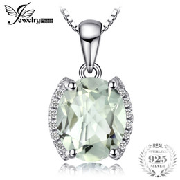 Chinese  JewelryPalace Oval 1.83 ct Green Amethysts Natural stone Pendant Necklace 925 Sterling Silver 45cm Box Chain Vintage Jewelry manufacturers