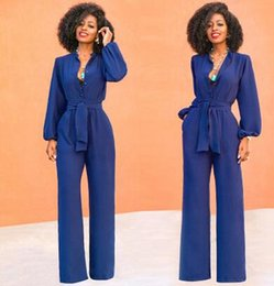 8eba194803e3 2018 European and American Autumn and Winter New Women s Wear Wish Amazon  Sells Popular Style Long-Sleeved Dacron Tied jumpsuit Dacron