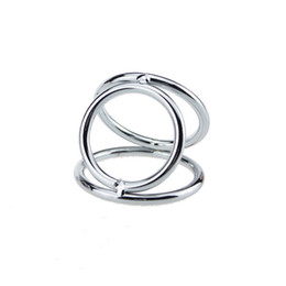 $enCountryForm.capitalKeyWord Australia - 3 Cock Ring Cock Ball Stretcher Stainless Steel Penis Ring Adult Game Male Chastity Belt Lock For Men Adult Sex Toys Sex Product