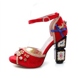 261cf29532c3b5 New designer ethnic print red woman summer sandals peep toe thick high heel  buckle bridal shoes metal decoration woman sandals