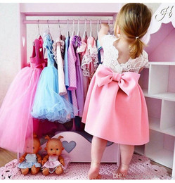 0e092a8d57115 2 color 2018 INS summer NEW arrival Girls Kids flying sleeve big bowknot  backless lace princess dress kids girl Big bow tie dress free ship