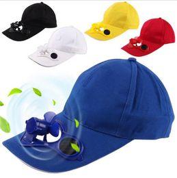 Free Cooling Fan Australia - New Hot Men Women Solar Power Sun Baseball Hats With Cooling Fan Summer Boys Girls Funny Caps Camping Traveling