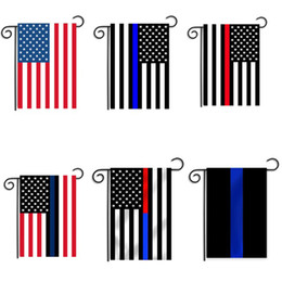 Usa Decorations NZ - 30*45cm BlueLine USA Police Flags party decoration Thin Blue Line USA Flag Black, White And Blue American Flag Garden flag