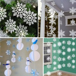 Freeze Paper Canada - Wholesale-3M Frozen Party Supplies Silver Snowflake Shape Paper Garland Christmas Wedding Decoration Scene New Year Decor