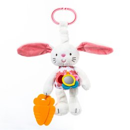 Bunny Baby Bedding Australia - Wholesale-0+ Baby Toy Soft Rabbit Bunny Plush Doll Baby Rattle Ring Bell Crib Bed Hanging Animal Toy Teether Doll Xmas Gift