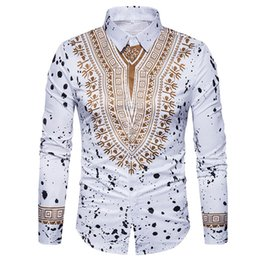 Chinese  3D Print Shirt Men 2017 Traditional African Dashiki Men Shirt Long Sleeve Slim Fit Casual Mens Dress Shirts Camisas Masculinas manufacturers