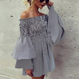 $enCountryForm.capitalKeyWord NZ - Hot Selling Fashion Slash Neck Off the Shoulder Girl Dresses with Ruffled Stripe Cotton Puffy Sleeves A line Short Casual Dress for Women