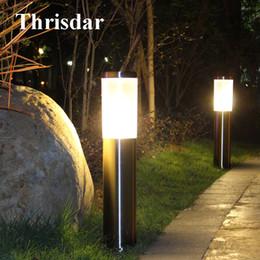 outdoor pillar lights square discount outdoor pillar lights thrisdar 2pcs outdoor garden post lawn light 45cm 60cm waterproof ip65 pillar lights led 2018 on