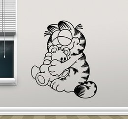 Wallpapers Walls Cartoons Australia - Cartoon Cat Wall Decal Removable Wallpapers for kids room decor Garfield Wall Vinyl Sticker
