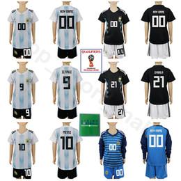 e3143649e Youth Argentina Jersey Set Long Sleeve Soccer 2018 World Cup Kids 11 DI  MARIA 10 MESSI 14 MASCHERANO KUN AGUERO 23 CABALLERO Football Kits