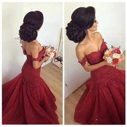 Wholesale Vintage Off the Shoulder Burgundy Long Prom Dresses Mermaid Lace Formal Evening Gowns Robe De Soiree
