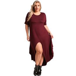 Ladies Night Evening Dresses UK - MAYFULL XL-3XL women elegant dress o-neck empire short sleeve split dress lady spring night causal evening party dress plus size