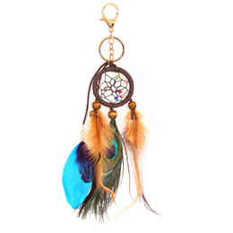 Ingrosso Classico fatto a mano Dreamcatcher Feathers Car Wall Keychain regalo Dream Catcher Portachiavi Trinket New Fashion Keychain