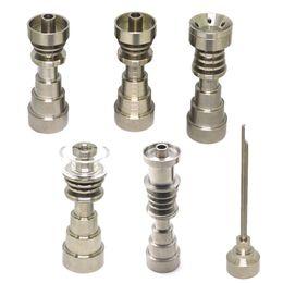 6 en 1 Domeless Titanium Nail Titanium GR2 Ongles joint 10mm 14mm et 18mm Glass bong pipes à eau en verre universel et pratique en Solde