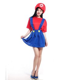 super women halloween costumes 2019 - Funny Cosplay Halloween Costumes Super Mario Luigi Brothers Fancy Dress Up Party Costume Cute Costume For Adult Girl Wom